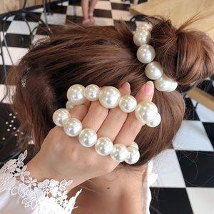 Gorgeous Pearl Bun Hair Tie Scrunchie Accessory